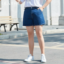 Women's large Summer 2021 XL / 32 2XL / 33 3XL / 34 4XL / 36 5XL / 38 6xl / 40 Jeans singleton  commute easy moderate Solid color Korean version cotton Three dimensional cutting Delicate and beautiful 25-29 years old pocket 96% and above Cotton 100% Pure e-commerce (online only) shorts