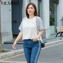Women's large Spring 2021 Off white - off white XL 2XL 3XL 4XL 5XL 6XL T-shirt singleton  commute Self cultivation moderate Socket Short sleeve Korean version Crew neck routine Nylon others Three dimensional cutting QLXQG0583VJB Delicate and beautiful 25-29 years old 51% (inclusive) - 70% (inclusive)