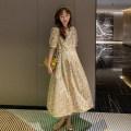Dress Other / other Pink, yellow L,XL,XXL Korean version Short sleeve Medium length summer square neck Decor