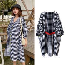 Dress Other / other black L,XL,XXL Korean version Long sleeves Medium length spring V-neck lattice cotton