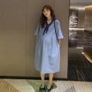 Dress Other / other blue L,XL,XXL Korean version elbow sleeve Medium length summer V-neck Solid color
