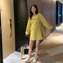 Dress Other / other White, yellow Average size Korean version Long sleeves Medium length spring Crew neck letter