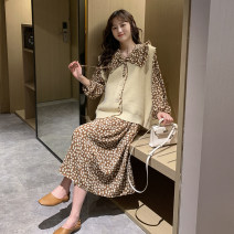 Dress Other / other Average size Korean version Long sleeves Medium length spring Lapel Decor Chiffon