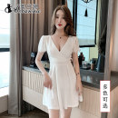 Dress Spring 2021 White x, black x, customized S,M,L,XL,2XL,3XL Short skirt singleton  Short sleeve commute V-neck High waist Solid color Socket A-line skirt Lotus leaf sleeve Others 18-24 years old Type A Korean version LS-X2003 polyester fiber