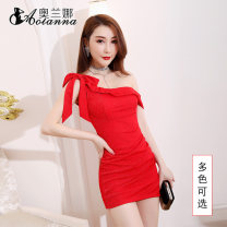 Dress Spring 2020 S,M,L,XL,2XL,3XL Short skirt singleton  Sleeveless commute Lotus leaf collar High waist Solid color Socket One pace skirt other Oblique shoulder 25-29 years old Type H lady X818 polyester fiber