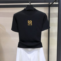 Wool knitwear Spring 2020 S = 2, M = 3, l = 4, XL = 5 Black, red, white, white, d0 letters Short sleeve singleton  Socket Cellulose acetate 81% (inclusive) - 90% (inclusive) have cash less than that is registered in the accounts Thin money commute Self cultivation Half height crew neck routine letter