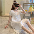 Nightdress Huizi family Sweet Short sleeve longuette pajamas Solid color summer youth square neck cotton printing W2001# one hundred and sixty ( M ), one hundred and sixty-five ( L ), one hundred and seventy ( XL ), one hundred and seventy-five ( XXL ), A gift for the exclusive collection
