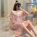 Nightdress Huizi family one hundred and sixty ( M ), one hundred and sixty-five ( L ), one hundred and seventy ( XL ), one hundred and seventy-five ( XXL ), A gift for the exclusive collection Korean version Short sleeve longuette Living clothes summer Solid color youth Crew neck cotton bow V5670#