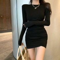 Dress Winter 2020 Black, gray Average size Short skirt singleton  Long sleeves commute Crew neck High waist Solid color Socket A-line skirt routine Others 18-24 years old Type A Korean version 81% (inclusive) - 90% (inclusive) cotton