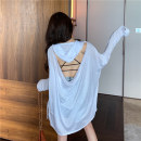 T-shirt White, black Average size Summer of 2019 Long sleeves Hood easy Medium length Flying sleeve commute other 86% (inclusive) -95% (inclusive) 18-24 years old Korean version youth Solid color backless