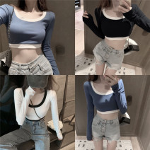 T-shirt Blue, white, black Average size Autumn 2020 Long sleeves Crew neck Self cultivation routine commute other 51% (inclusive) - 70% (inclusive) 18-24 years old Korean version