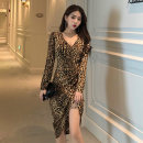 Dress Autumn 2020 Picture color Average size Miniskirt singleton  Long sleeves commute V-neck High waist Leopard Print Irregular skirt routine 18-24 years old Type X Other / other Korean version 51% (inclusive) - 70% (inclusive) other
