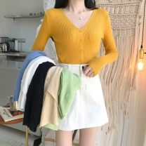 Wool knitwear Spring 2021 Average size Black, white, blue, green, apricot, turmeric Long sleeves singleton  Socket other 31% (inclusive) - 50% (inclusive) routine commute Self cultivation V-neck routine Solid color