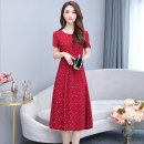 Dress Summer 2021 Color 1, color 2, color 3, color 4, color 5, color 8, color 9, color 10, color 12 L,XL,2XL,3XL,4XL Mid length dress singleton  Short sleeve commute Crew neck Elastic waist Broken flowers Socket Big swing routine Others 35-39 years old Type A other Korean version 9802-1 More than 95%