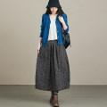 skirt Autumn 2020 Mid length dress Versatile High waist Flower bud skirt Broken flowers