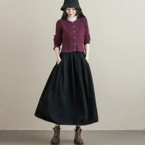 skirt Autumn 2020 Elastic waist (skirt piece) black Mid length dress commute High waist A-line skirt Type A S316A Retro
