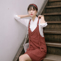 Dress Autumn of 2018 Rust red, black S,M,L Middle-skirt commute High waist Solid color straps Chuan Dai literature straps HCNT20180821 51% (inclusive) - 70% (inclusive) polyester fiber