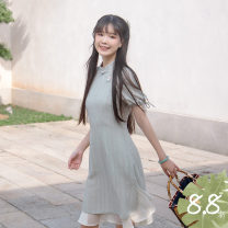 cheongsam Spring 2021 S,M,L Light tea green, second batch of light tea green, third batch of light tea green Short sleeve Short cheongsam Retro Low slit daily Round lapel Broken flowers Embroidery Chuandai time cotton