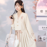 Dress Spring 2021 Beipink, beipink second batch, beipink third batch S,M,L longuette singleton  Long sleeves commute V-neck High waist Solid color Socket A-line skirt routine 18-24 years old Type A Chuandai time Embroidery polyester fiber
