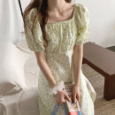 Dress Summer 2020 Picture color S, M Mid length dress singleton  Short sleeve commute square neck High waist Decor Princess Dress puff sleeve 18-24 years old Type A Korean version