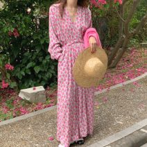Dress Summer 2021 Picture color Average size Mid length dress singleton  Long sleeves commute V-neck High waist Decor Princess Dress other 18-24 years old Type X Korean version