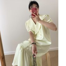 Dress Summer 2021 Blue, yellow, black Average size longuette singleton  Short sleeve commute Loose waist Ruffle Skirt routine 18-24 years old Type H Korean version printing