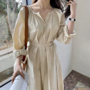 Dress Autumn 2020 Apricot, white Average size Mid length dress singleton  Long sleeves commute V-neck Loose waist Solid color Princess Dress routine 18-24 years old Type X Korean version