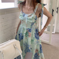 Dress Summer 2021 Picture color Average size longuette singleton  Sleeveless commute square neck High waist Decor Princess Dress camisole 18-24 years old Type X Korean version