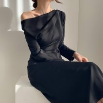 Dress Spring 2021 Apricot, black S,M,L Mid length dress Long sleeves commute Slant collar High waist Solid color Princess Dress 18-24 years old Type X Korean version