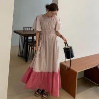 Dress Spring 2021 Pink, black Average size longuette singleton  Short sleeve commute Crew neck Elastic waist zipper routine 18-24 years old Type H Korean version
