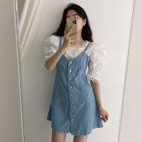 Dress Summer 2021 Denim blue S, M Short skirt singleton  Sleeveless commute V-neck High waist Solid color A-line skirt other 25-29 years old Type X Korean version