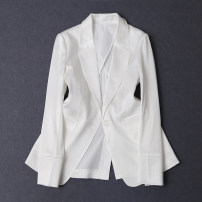 suit Spring 2021 white S,M,L,XL Long sleeves routine Self cultivation tailored collar A button commute routine Solid color 30-34 years old 81% (inclusive) - 90% (inclusive) Cellulose acetate Pockets, buttons, stitching, patching, thread decoration