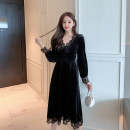 Dress Autumn 2020 black S,M,L,XL Mid length dress singleton  Long sleeves commute V-neck High waist Solid color zipper Big swing routine Type A lady Pleats, stitching, buttons, lace 51% (inclusive) - 70% (inclusive) other