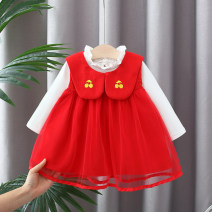 Dress Red, pink female Other / other 66cm,73cm,80cm,85cm,90cm,95cm,100cm,105cm,110cm Cotton 90% polyurethane elastic fiber (spandex) 10% spring and autumn princess Skirt / vest Solid color cotton Princess Dress 12 months, 6 months, 9 months, 18 months, 2 years, 3 years