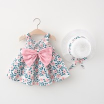 Dress Pink, emerald green female Other / other 66cm,73cm,80cm,85cm,90cm,95cm,100cm Cotton 80% other 20% summer princess Skirt / vest Broken flowers Cotton blended fabric Splicing style They were 3 years old, 18 months old, 9 months old, 12 months old, 6 months old and 2 years old Chinese Mainland