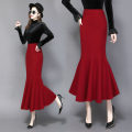 skirt Winter 2020 S,M,L,XL,2XL,3XL Red (1010), black (1010) Mid length dress commute High waist skirt Solid color Type X 25-29 years old 71% (inclusive) - 80% (inclusive) Wool polyester fiber Ruffle, zipper, stitching lady