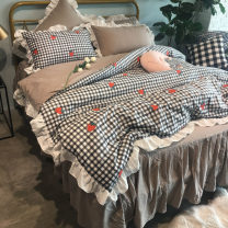 Bedding Set / four piece set / multi piece set cotton other Others 133x72 Miss ziluo's house cotton 4 pieces 40 Bed skirt Korean style 100% cotton Reactive Print