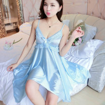 Nightdress Other / other sexy camisole pajamas Middle-skirt summer Solid color youth V-neck More than 95% Iced silk 1318# 200g and below