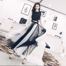 skirt Spring of 2019 S,M,L White, skirt, top longuette commute High waist A-line skirt Solid color Type A 25-29 years old 91% (inclusive) - 95% (inclusive) other Other / other polyester fiber Bowknot, tuck, fold, lace, three-dimensional decoration Ol style