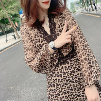 Dress Spring 2021 ① Leopard Print S,M,L,XL Middle-skirt singleton  Long sleeves street V-neck High waist Leopard Print Socket Ruffle Skirt 30-34 years old bobowaltz B183k05495p 31% (inclusive) - 50% (inclusive) other Europe and America