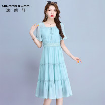Dress Summer 2020 Pink, turquoise M L XL 2XL longuette singleton  Short sleeve commute square neck High waist Solid color Socket A-line skirt other 30-34 years old Yilangxuan Splicing More than 95% polyester fiber Polyester 100% Same model in shopping mall (sold online and offline)