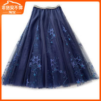 skirt Summer of 2019 Average size Black, gray, apricot, starry blue Mid length dress commute Fluffy skirt other 18-24 years old Constellation 451 71% (inclusive) - 80% (inclusive) other Other / other Sequins, stitching, embroidery