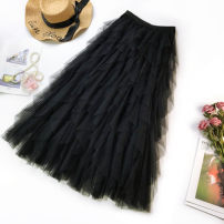 skirt Winter of 2019 Average size Black, white, apricot, haze blue, pink Mid length dress fresh Ruffle Skirt Solid color 18-24 years old 81% (inclusive) - 90% (inclusive) other Other / other Ruffles, stitching