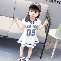 Dress White, pink female Other / other 80, 90, 100, 110, 120 Other 100% summer princess Short sleeve Solid color cotton Lotus leaf edge Class B 12 months, 18 months, 2 years old, 3 years old, 4 years old, 5 years old, 6 years old Chinese Mainland