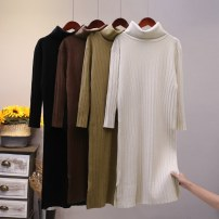 Dress Winter 2020 Dark brown, black, apricot, khaki Average size (f) longuette singleton  Long sleeves commute High collar Loose waist Solid color Socket routine 25-29 years old Type H Yixueling yarn Korean version thread 51% (inclusive) - 70% (inclusive) other other