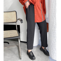 Women's large Spring 2021 Thin and black Large L (120-165 Jin recommended), large XL (165-175 Jin recommended), large 2XL (175-185 Jin recommended), large 3XL (185-205 Jin recommended) trousers singleton  commute Straight cylinder moderate Solid color Korean version other other other Other / other