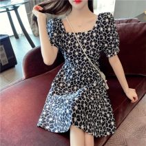 Dress Summer 2021 Sky blue, Navy S,M,L,XL Short skirt singleton  Short sleeve commute square neck middle-waisted Abstract pattern A-line skirt bishop sleeve Others 18-24 years old Type A Retro Hollow out, embroidery 51% (inclusive) - 70% (inclusive) other other