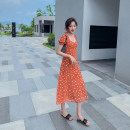 Dress Summer 2021 Picture color S,M,L,XL Mid length dress singleton  Short sleeve commute square neck High waist Decor zipper A-line skirt puff sleeve Others Type A Retro Ruffles, stitching 81% (inclusive) - 90% (inclusive)