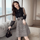 Dress Spring 2021 black M,L,XL,2XL Middle-skirt singleton  Long sleeves commute stand collar High waist Solid color zipper A-line skirt bishop sleeve Others 30-34 years old Type A Korean version Bow, net, lace 81% (inclusive) - 90% (inclusive)
