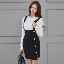 Dress Autumn 2020 Picture color S,M,L,XL Short skirt singleton  Long sleeves commute Crew neck High waist other zipper One pace skirt puff sleeve straps 18-24 years old Type H Other / other Korean version Stitching, asymmetry, strap, button Dress of temperament goddess other polyester fiber